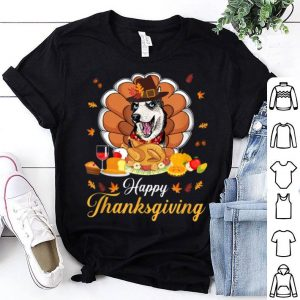 Pretty Happy Thanksgiving Turkey Husky Dog Pilgrim Gift Feasted shirt