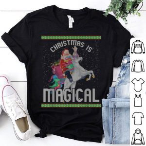 Top Christmas Is Santa Riding Unicorn Ugly Xmas Gift shirt