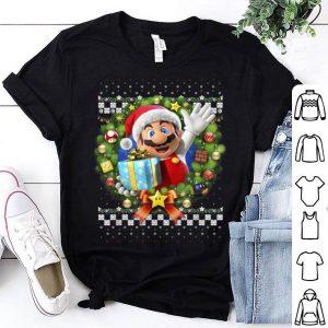 Top Super Mario 3D Christmas Wreath Present Graphic shirt