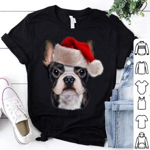 Awesome Cute French Bulldog wearing Santa Claus Hat on Christmas sweater