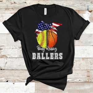 Nice Busy Raising Ballers Softball Basketball American Flag shirt