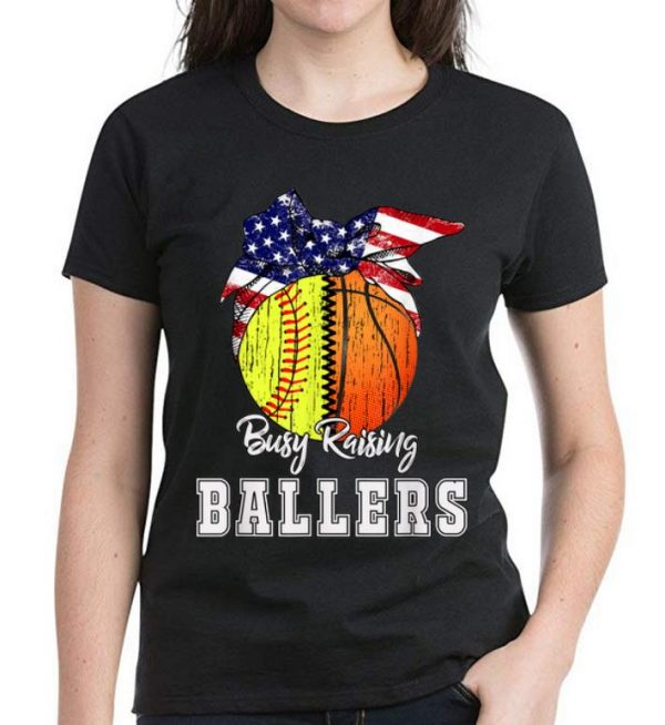 Nice Busy Raising Ballers Softball Basketball American Flag shirt