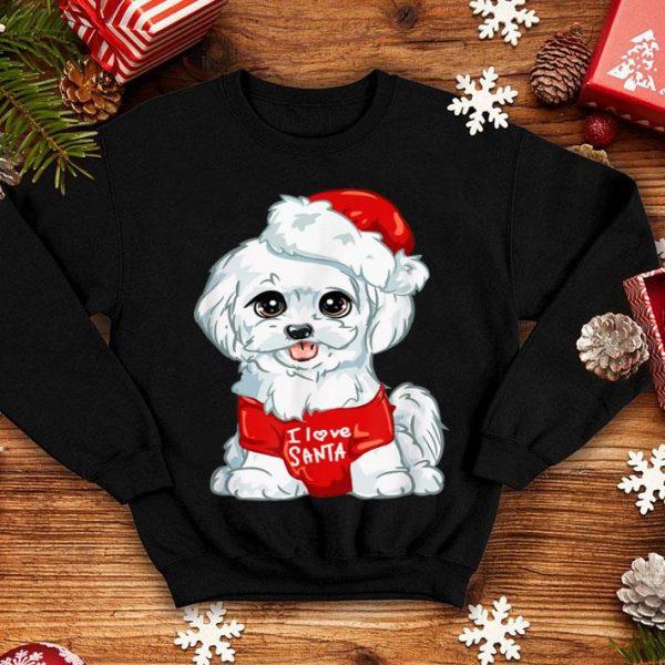 Nice White Maltese Dog I Love Santa Puppy Dogs Christmas Gift sweater