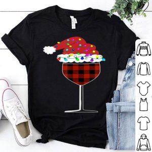 Original Buffalo Plaid Christmas glass of Wine With Santa Hat Lights sweater