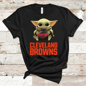 Premium Star Wars Football Baby Yoda Hug Cleveland Browns shirt