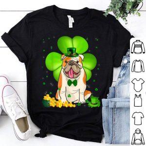 Awesome St Patrick's Day Bulldog Shamrock Pet Lover shirt