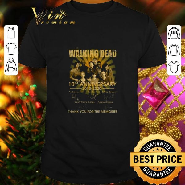 Top The Walking Dead character 10th anniversary 2010-2020 signatures shirt