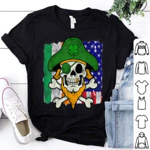 Beautiful St Patricks Day Pirate Skull Crossbones Irish Usa Flag shirt