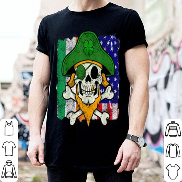 Beautiful St Patricks Day Pirate Skull Crossbones Irish Usa Flag shirt