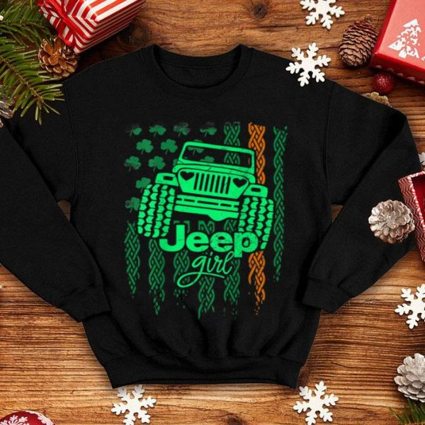 Pretty Jeep-girl Shamrock Flag St. Patrick's Day Gift shirt
