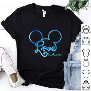Top Mickey head love autism awareness shirt