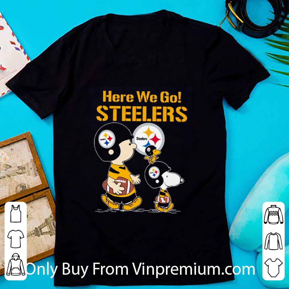 Awesome Here We Go Steelers Snoopy Charlie Brown shirt