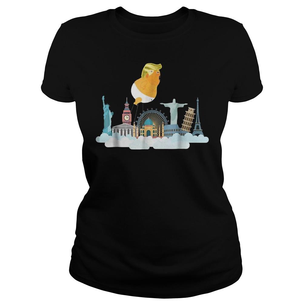 Trump Baby Balloon Travelling Around the World T-Shirt Classic Ladies Tee