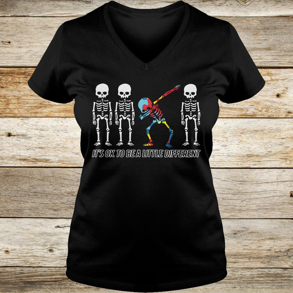 Autism skeleton dabbing it's ok to be a little different shirt Ladies V-Neck