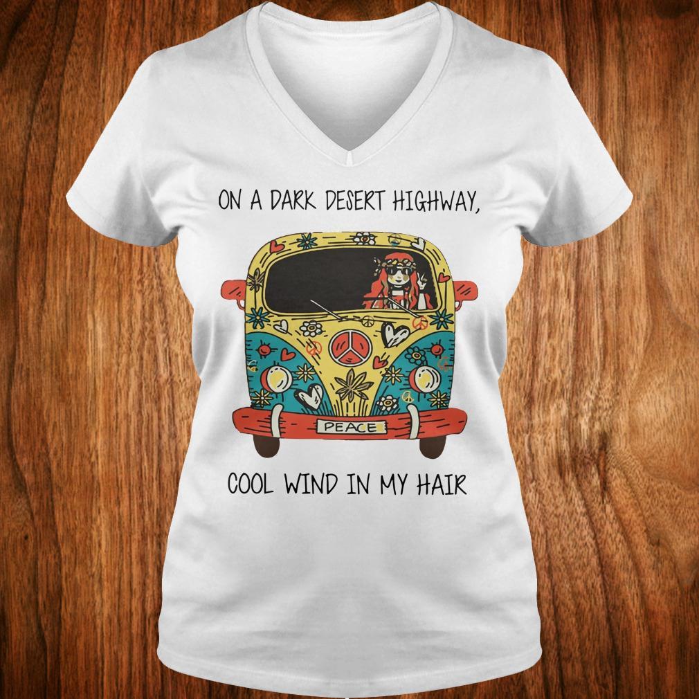 Hippie car on a dark desert highway cool wind in my hair shirt Ladies V-Neck