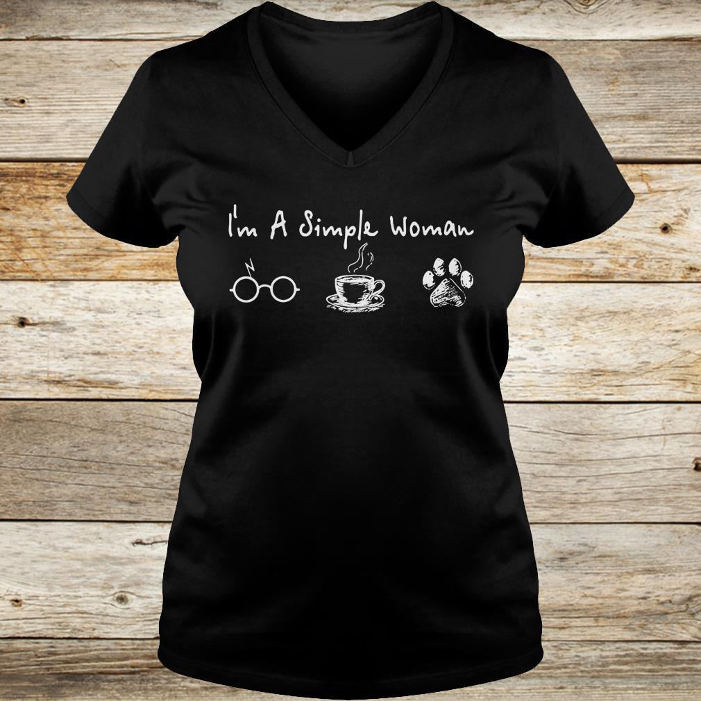 I'm a simple woman I like Harry Potter Coffee and Dog shirt Ladies V-Neck