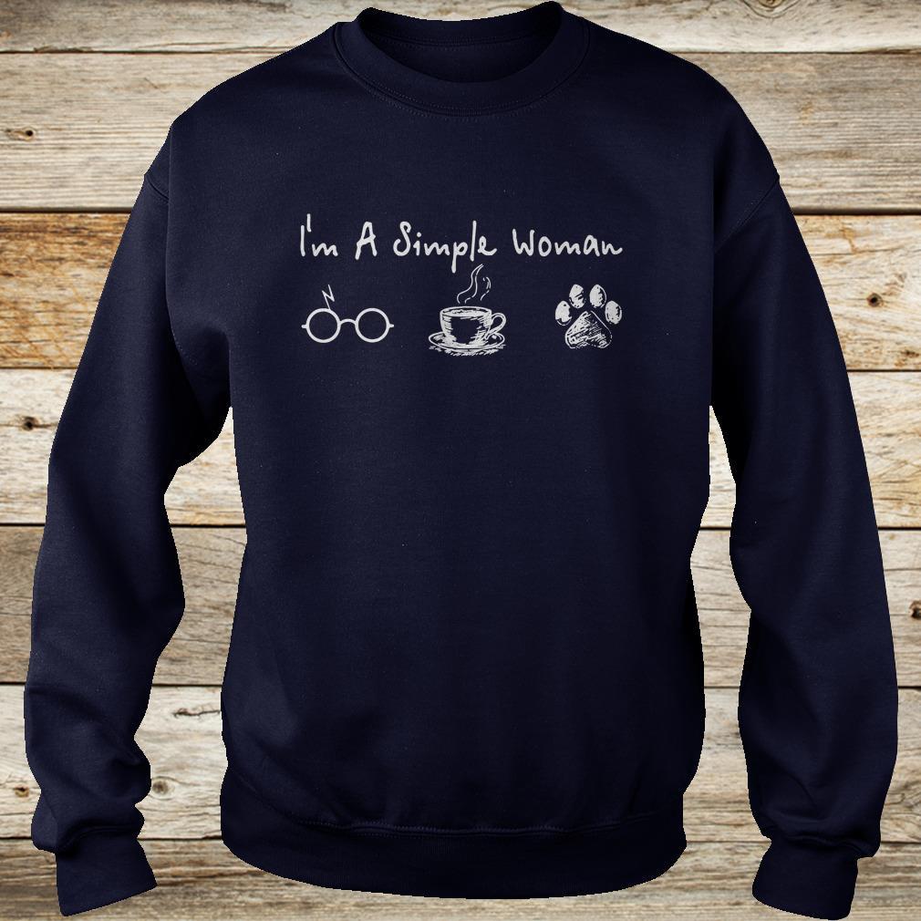 I'm a simple woman I like Harry Potter Coffee and Dog shirt