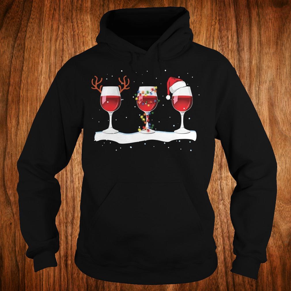 Three wine glasses with Christmas light, deer horn and Santa hat shirt Hoodie