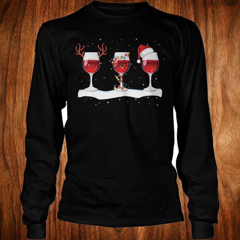Three wine glasses with Christmas light, deer horn and Santa hat shirt Longsleeve Tee Unisex