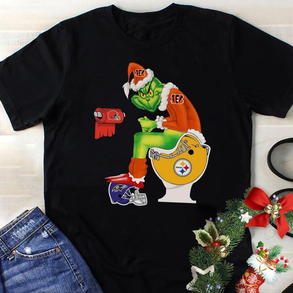 Cincinnati Bengals Grinch Santa Pittsburgh Steelers Toilet shirt 1