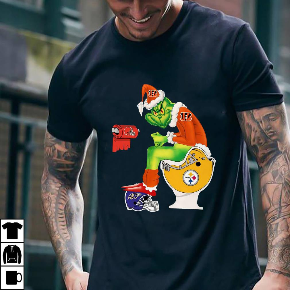 Cincinnati Bengals Grinch Santa Pittsburgh Steelers Toilet shirt 2
