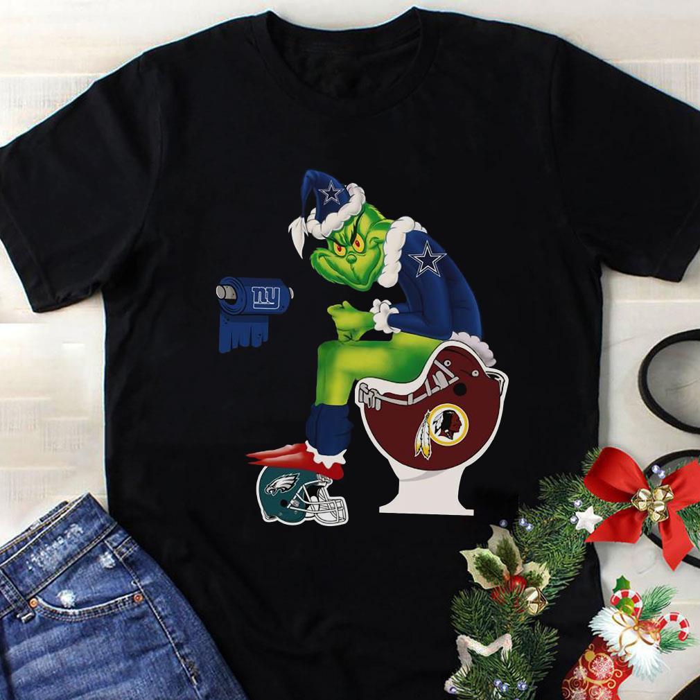 Dallas Cowboys Grinch Santa Washington Redskins Toilet shirt 1