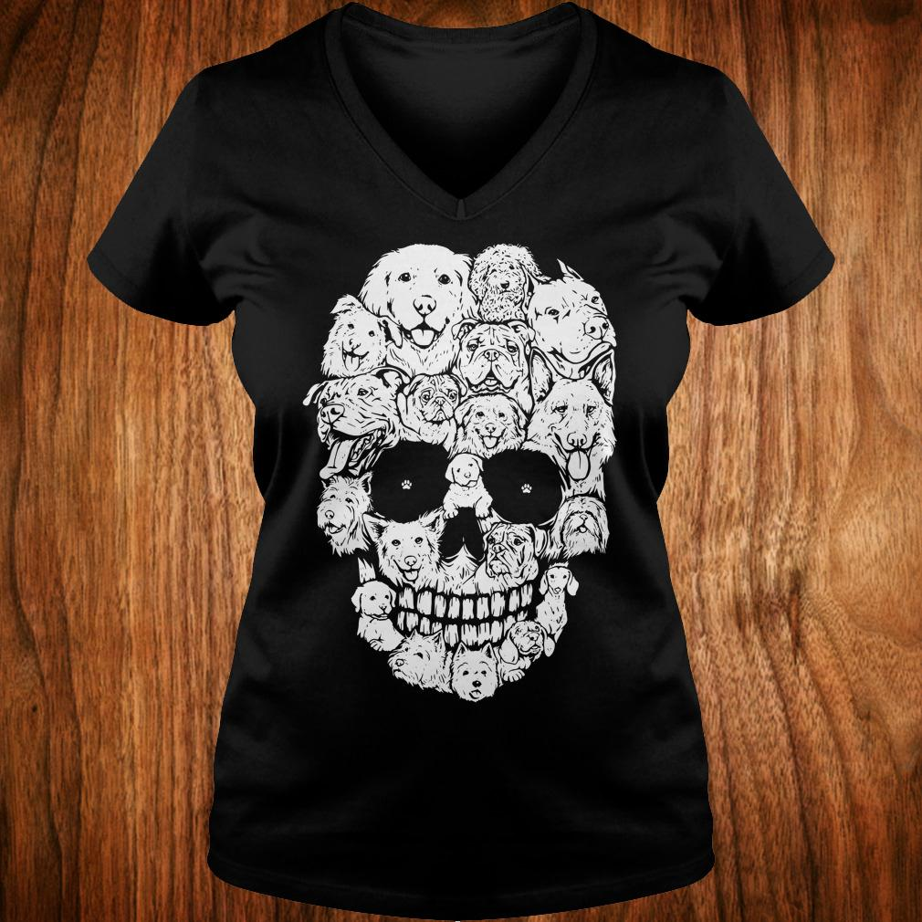 Dogs stacked into skull shirt Ladies V-Neck