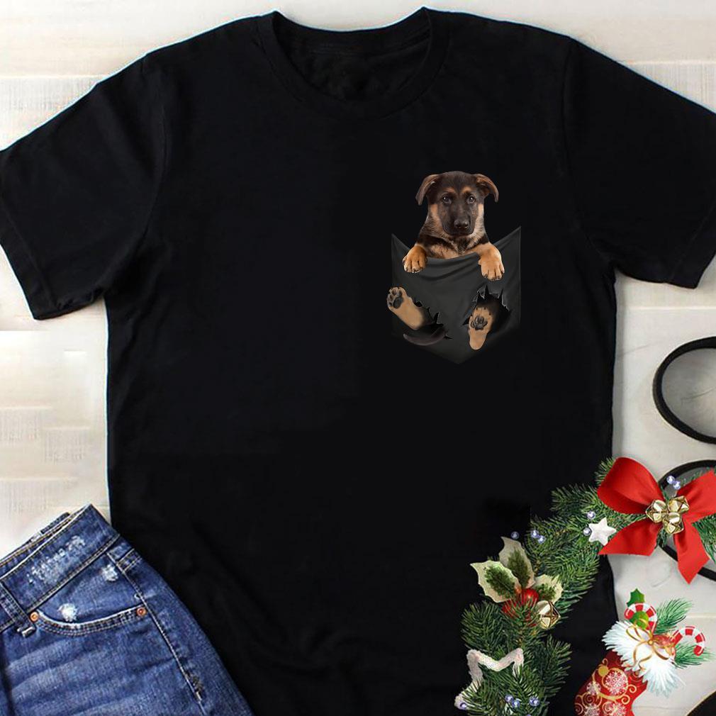 German Shepherd Baby Dog in Tiny Pocket shirt