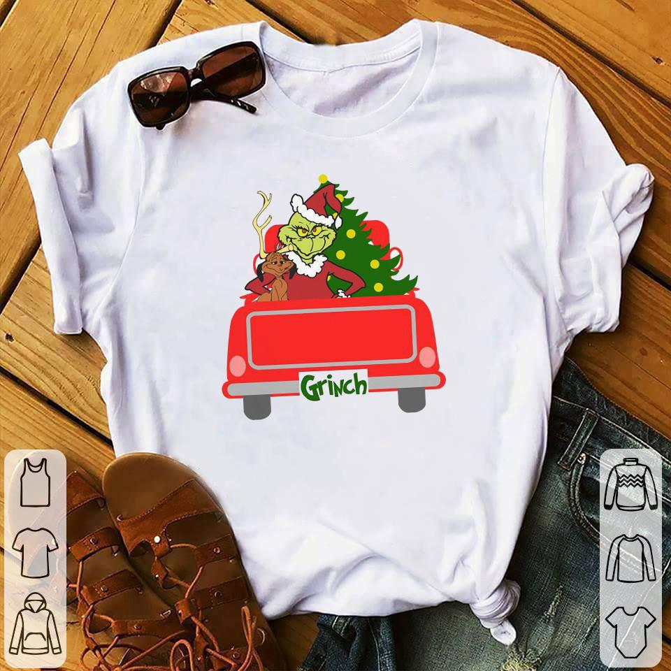 Ginch with dog, christmas tree, red truck shirt