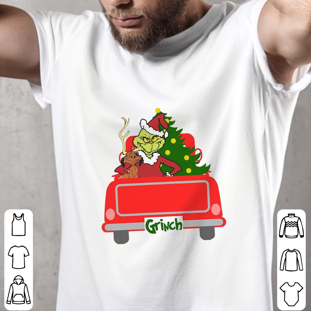 - Ginch with dog, christmas tree, red truck shirt