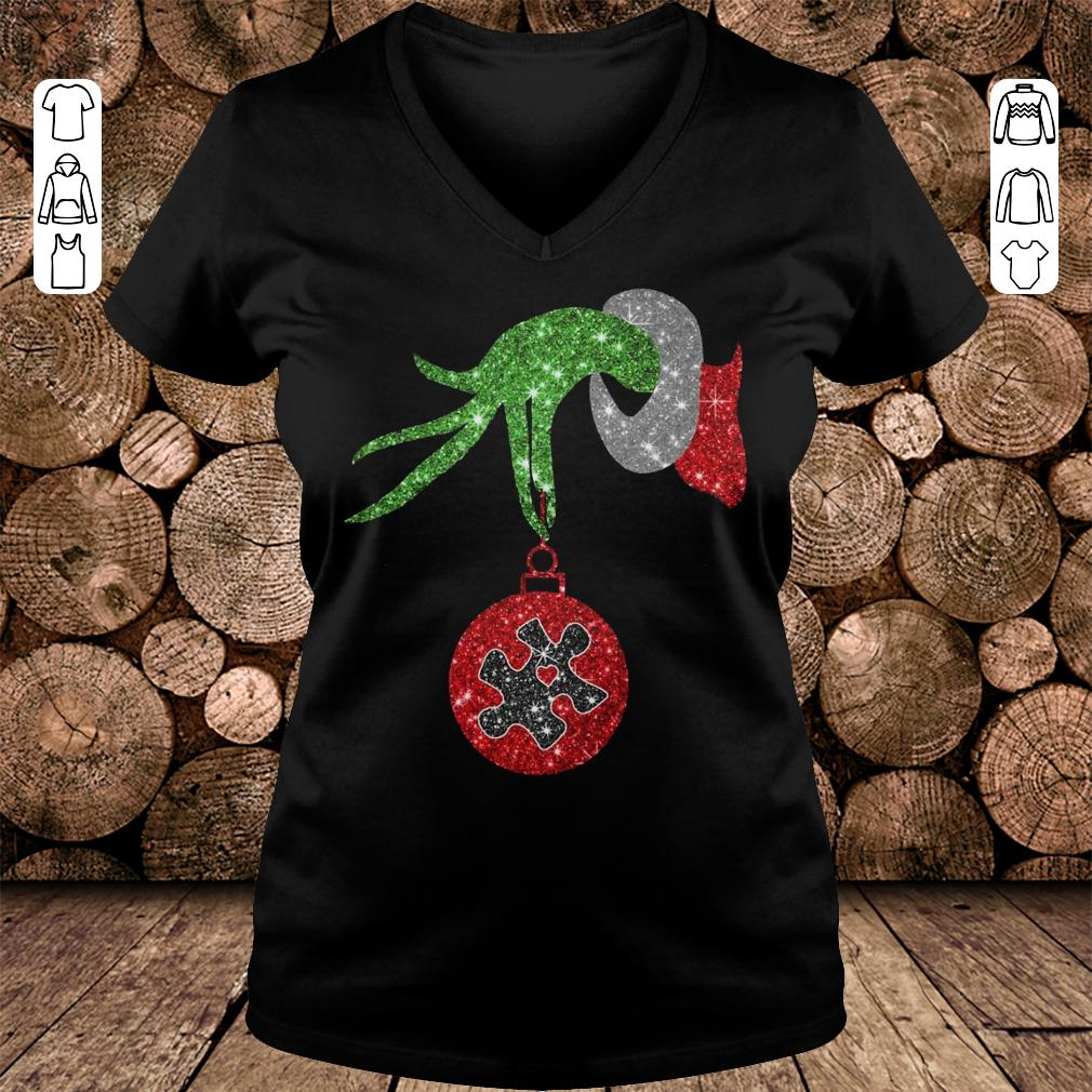 Grinch Hand Holds Autism Twinkle Ornament shirt Ladies V-Neck