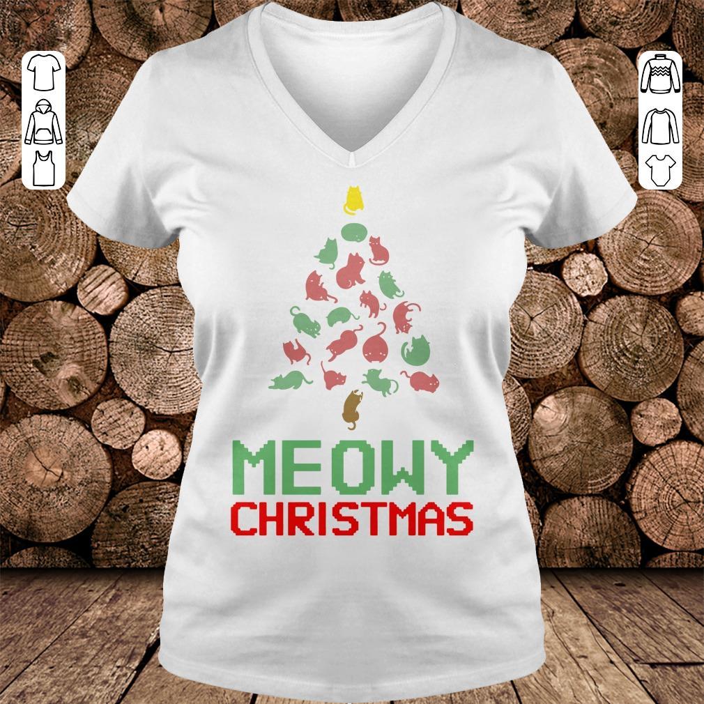Meowy Christmas Tree shirt Ladies V-Neck