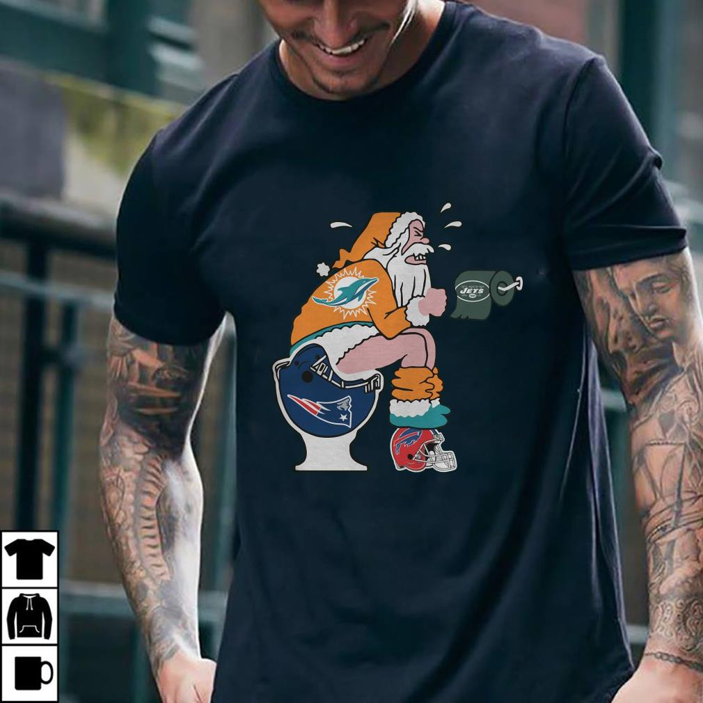 - Miami Dolphins Santa New England Patriots Toilet shirt