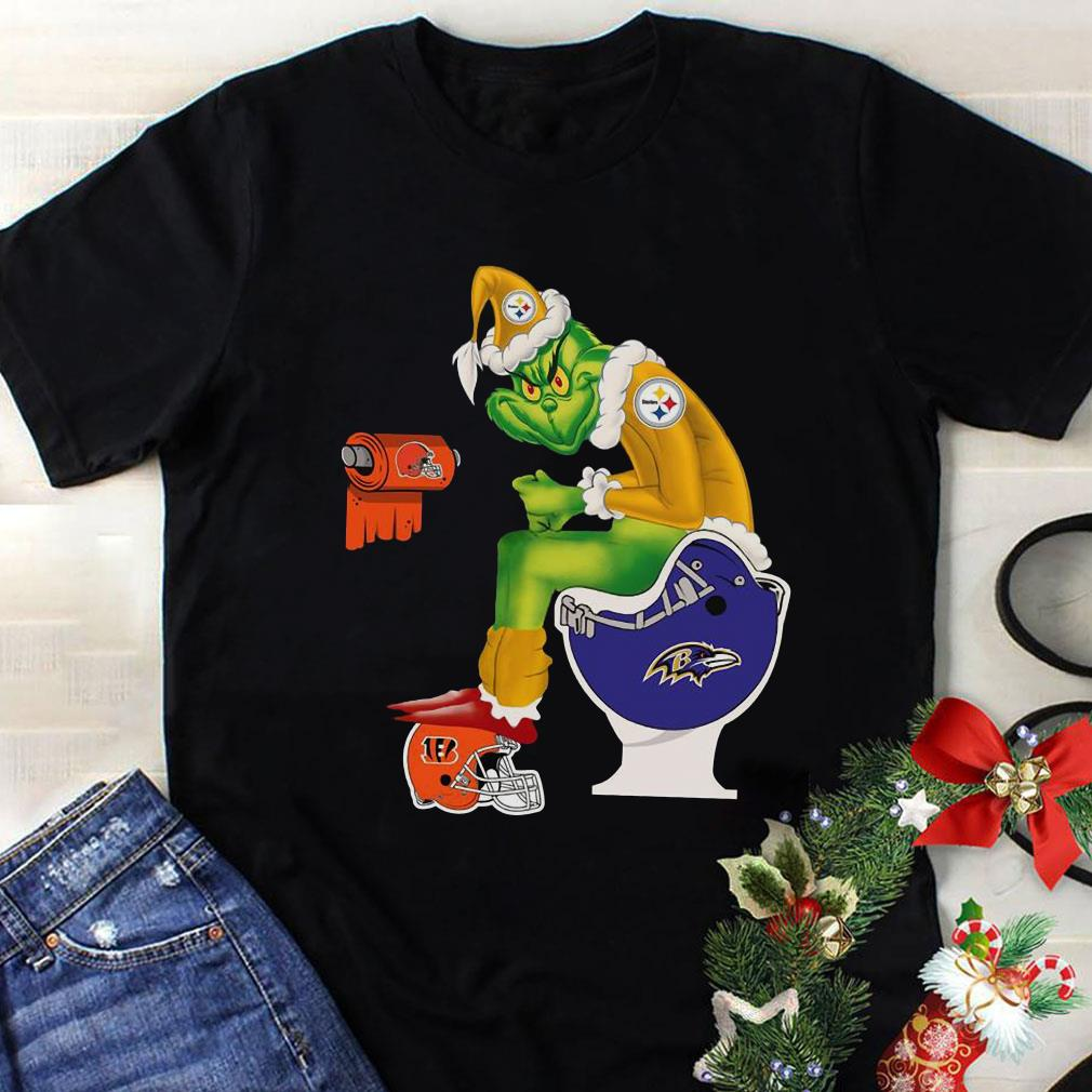 Pittsburgh Steelers Grinch Santa Baltimore Ravens Toilet shirt