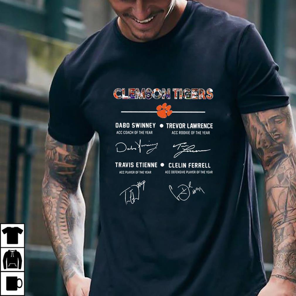 Clemson Tigers Signature Dabo Swinney, Trevor Lawrence, Travis Etienne, Clelin Ferrel shirt 2
