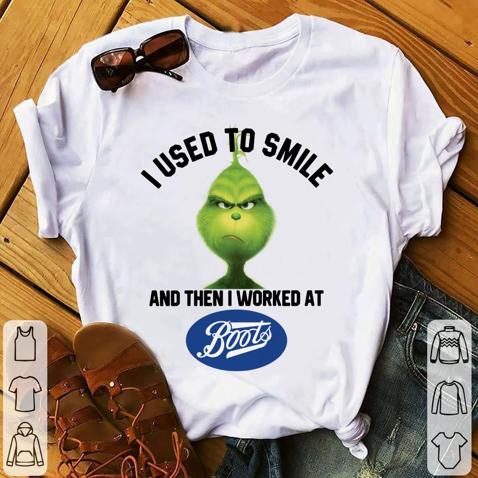 Grinch I used to smile and then I worked at Boots shirt 1