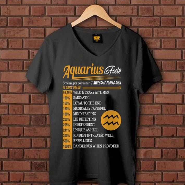Aquarius facts serving per container 1 awesome zodiac sign daily value shirt 1