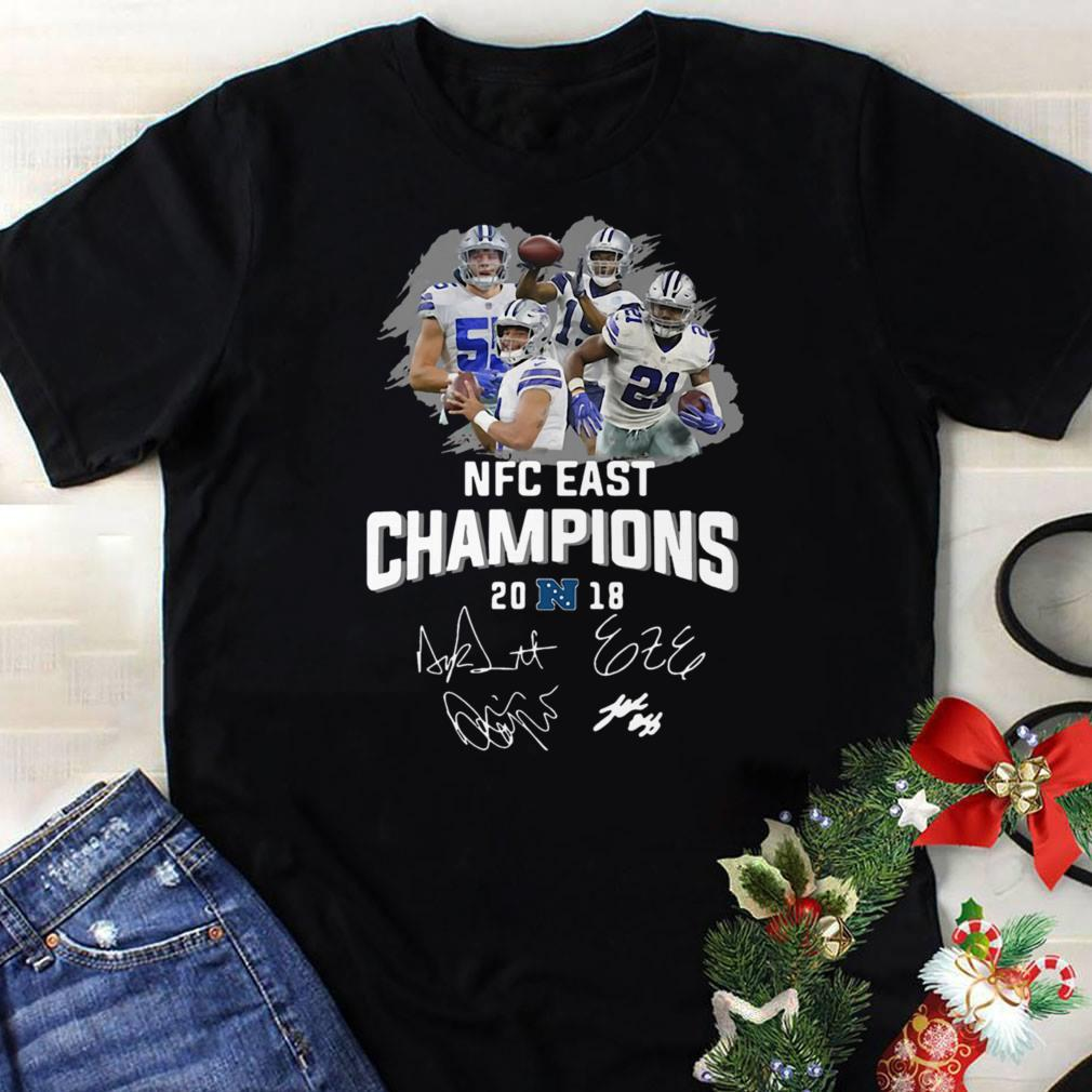 Dallas Cowboys players NFC East champions 2018 signature shirt 1