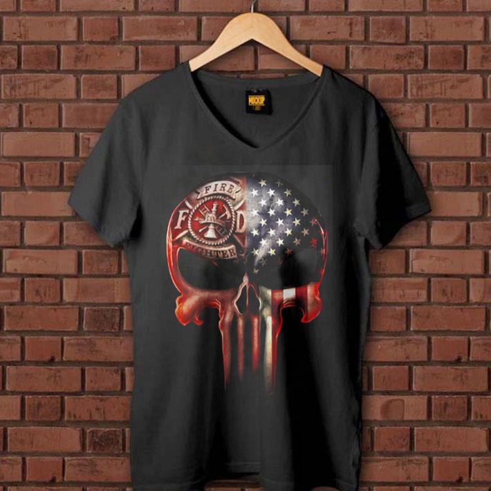 - Firefighter America flag skull shirt