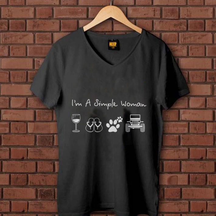 I'm a simple woman glass wine flip flop dog paw jeep shirt 1