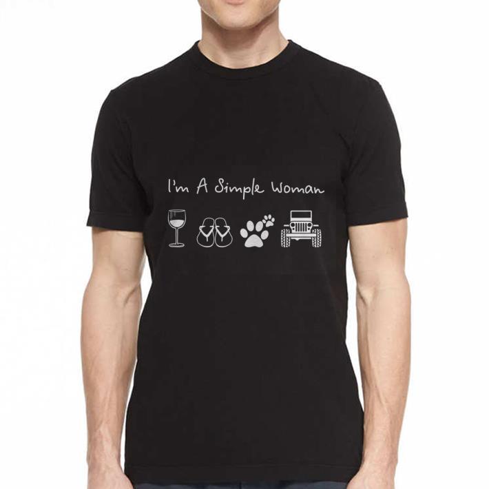 I'm a simple woman glass wine flip flop dog paw jeep shirt 2