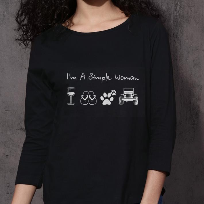 I'm a simple woman glass wine flip flop dog paw jeep shirt 3