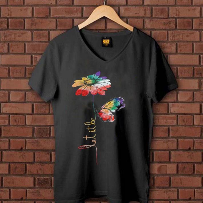 LGBT flower butterfly let it be shirt 1