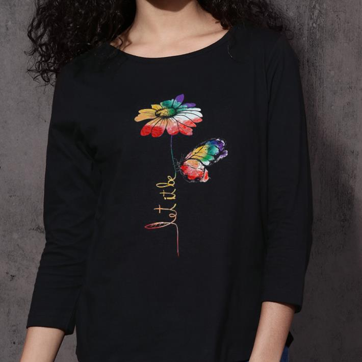 LGBT flower butterfly let it be shirt 3