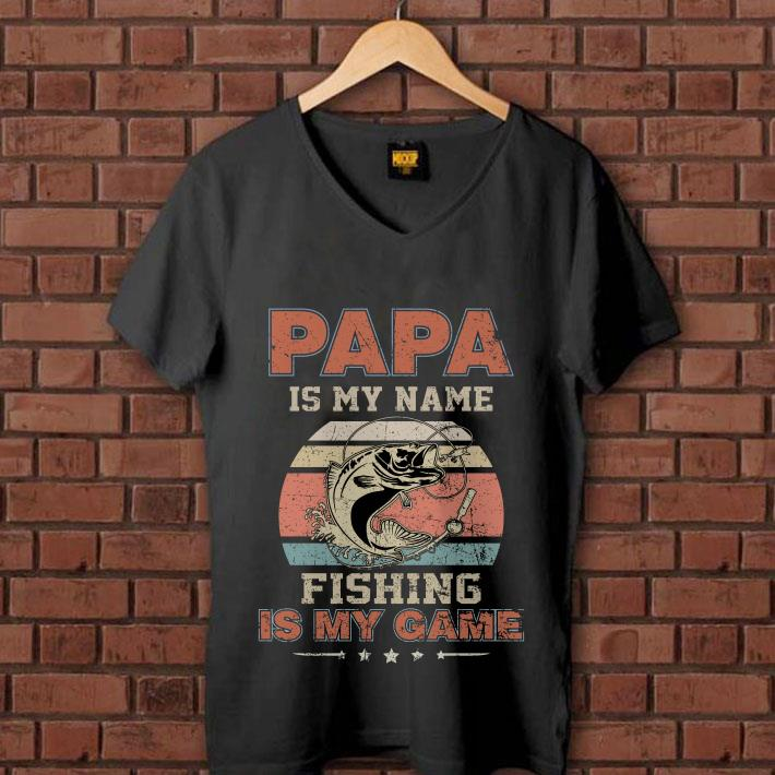 Papa is my name fishing is my game sunset retro shirt 1