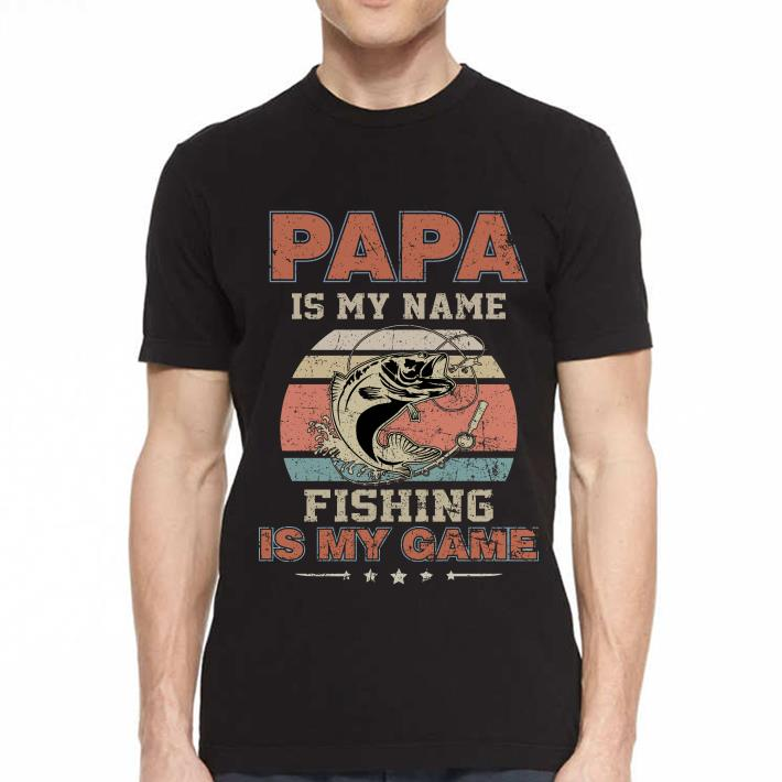 Papa is my name fishing is my game sunset retro shirt 2