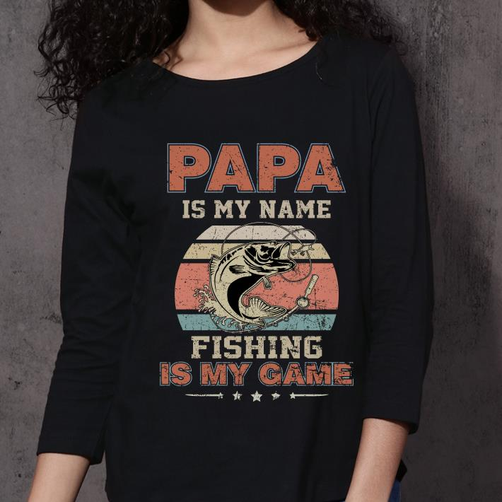 Papa is my name fishing is my game sunset retro shirt 3