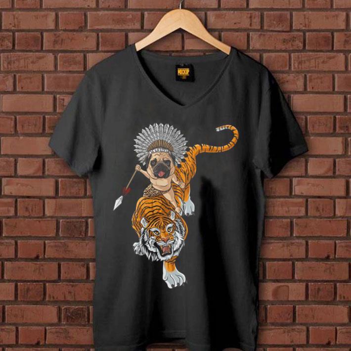 Pug dog riding Tiger shirt 1