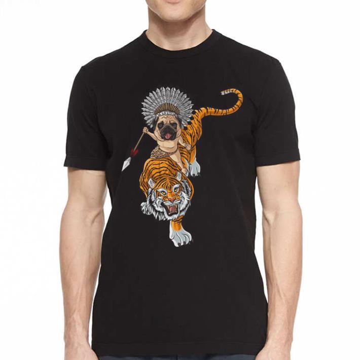 Pug dog riding Tiger shirt 2