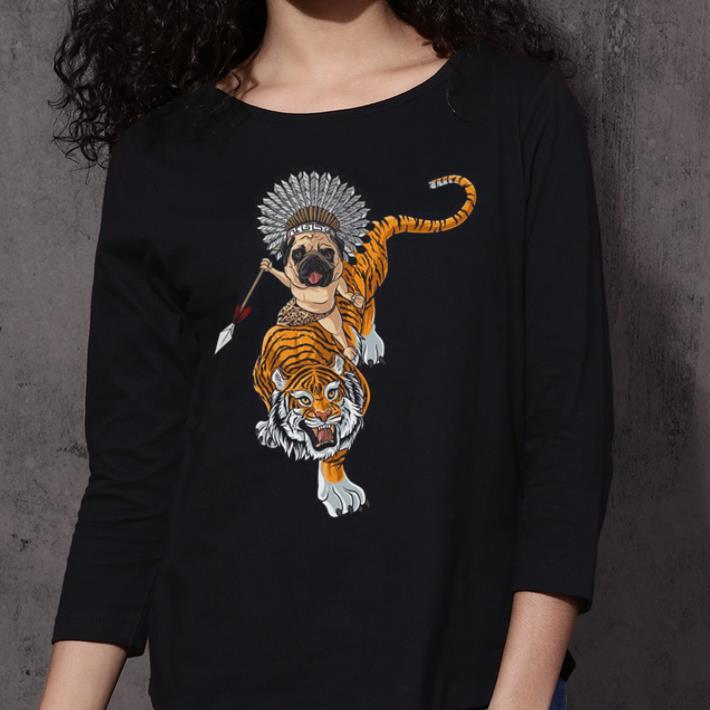 Pug dog riding Tiger shirt 3